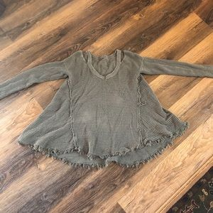 Free people distressed olive green top